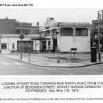 East Rd towards New North Rd from Junction of Bevenden St.- 1972 - Dorset Garage on Right